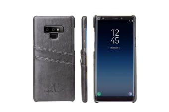For Samsung Galaxy Note 9 Case Deluxe Wallet Leather Cover 2 Card Slots Grey