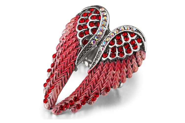 ngel wings stretch ring women bling jewelry Red