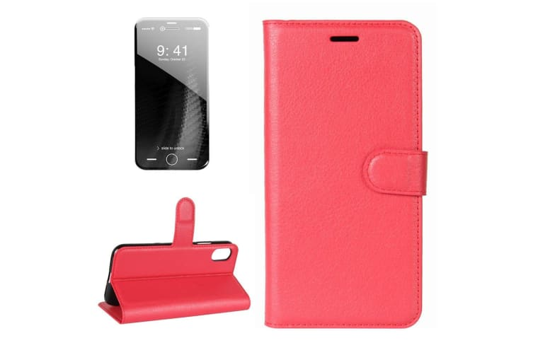 For iPhone XS X Wallet Case Lychee Texture Flip Protective Leather Cover Red