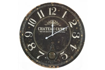Distressed Chateau Canet Pendulum Wall Clock (Black)
