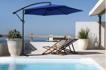Milano 3 Metre Cantilever Outdoor Umbrella with Bonus Protective Cover (Navy)