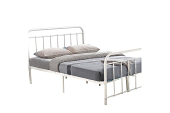 Levede QUEEN KING DOUBLE SINGLE Metal Bed Frame Mattress Base Size Bedroom BK/WH  -  WhiteQueen