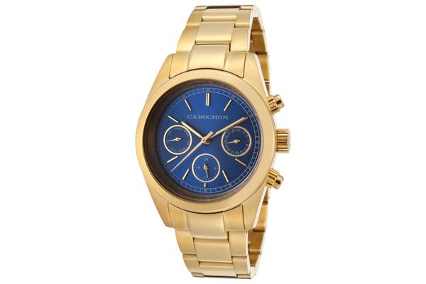 Cabochon Women's  De Ce Monde Multi-Function Blue Dial Gold Tone Ion Plated Stainless Steel (CABOCHON-1111)