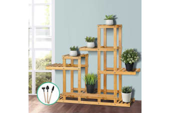 Artiss Bamboo Plant Stand Garden Stand Shelf Planter Flower Pots Indoor Outdoor
