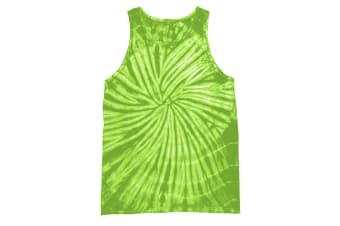 Colortone Womens/Ladies Sleeveless Tie-Dye Tank Top (Spiral Lime) (L)