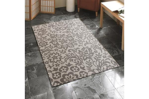 Indoor Outdoor Damask Rug Cream Grey 160x110cm
