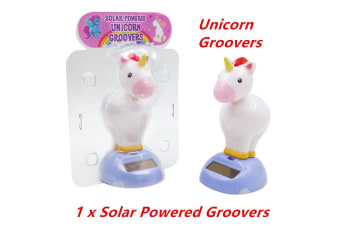 1 x NOVELTY SOLAR POWERED HEAD BOBBING UNICORN GROOVERS DASHBOARD TOY HOME CAR