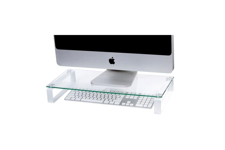 Esselte 60cm Computer Glass Monitor/Screen Riser Holder Desktop Stand Clear/WHT
