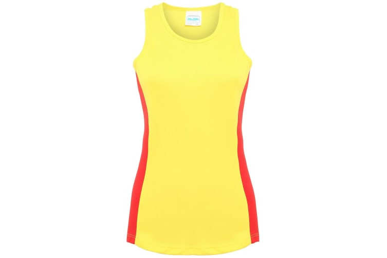 AWDis Just Cool Womens/Ladies Girlie Contrast Panel Sports Vest Top (Sun Yellow/Fire Red) (XL)