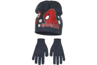 Marvel Ultimate Spider-Man Childrens Boys Profile Hat And Gloves Set (Charcoal)