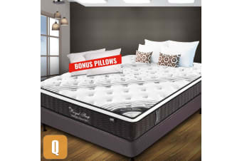 QUEEN Mattress Bed Euro Top Pocket Spring Firm Foam 33CM *9 Zone *Bonus Pillows