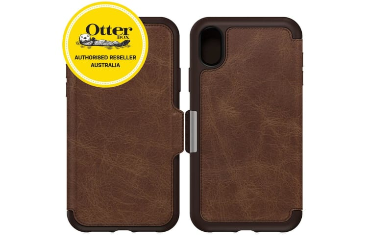 new concept f21aa e8700 OtterBox Strada Folio Case for iPhone XR - Espresso