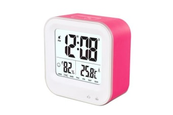 TODO Rechargeable Smart Lcd Alarm Clock Portable 600Mah Li-Ion Battery Time Temp - Pink