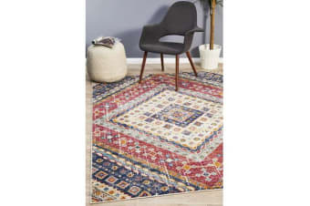 Multi Red Diamond Vintage Look Rug 230X160cm