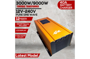 3000W 9000W PEAK 12V PURE SINE WAVE POWER INVERTER 40A CHARGER TOROIDAL TRANS