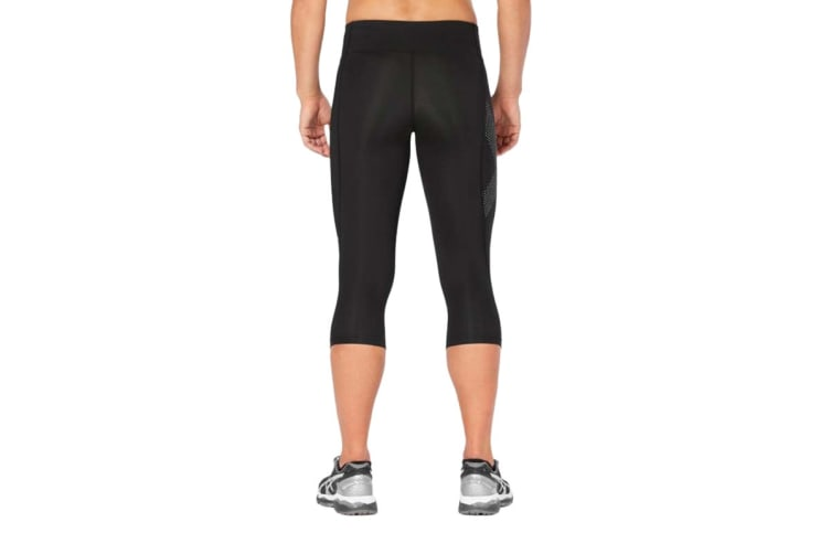 2XU Women's Mid-Rise Compression 3/4 Tights (Black/Dot Reflective, Size S)