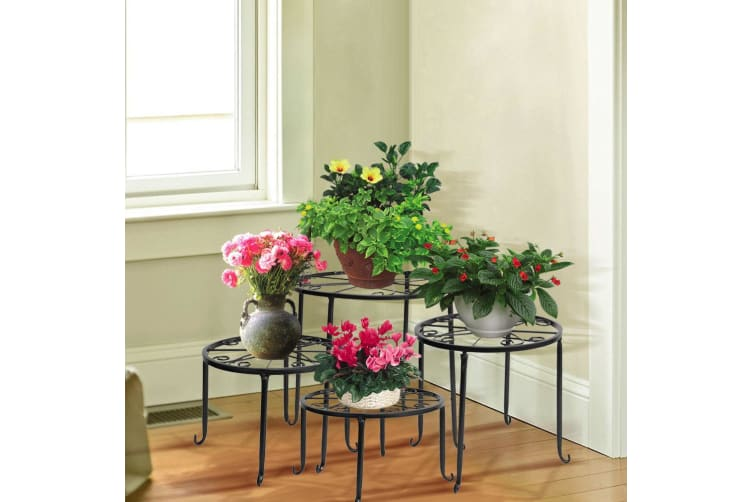 4 x Metal Outdoor Indoor Pot Plant Stand Garden Decor Flower Rack Wrought Iron