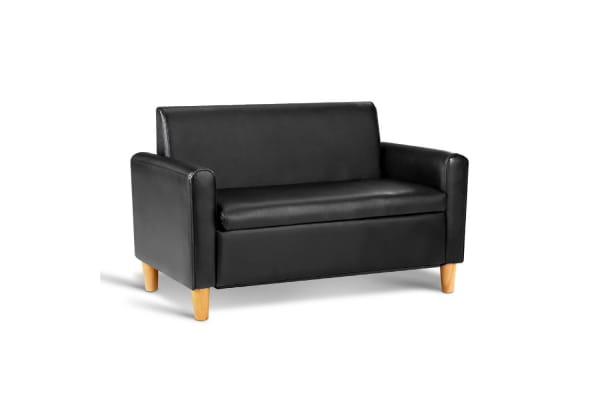 Kids PU Leather Couch Double (Black)