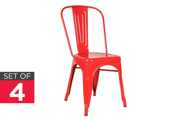 Ovela Set of 4 Tolix Replica Dining Chairs (Red)