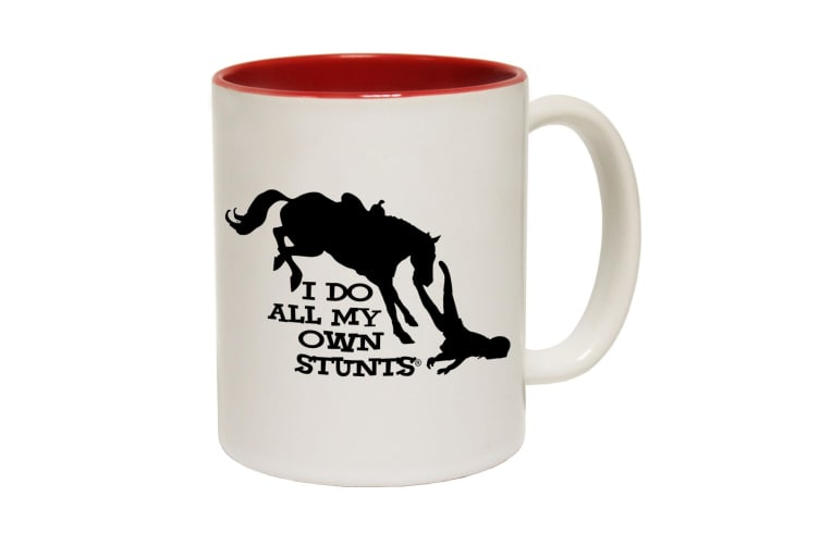 123T Funny Mugs - I Do All My Stunts Horse - Red Coffee Cup