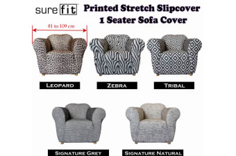 Surefit Printed Stretch Slipcover 1 Seater Couch Cover Tribal by Surefit