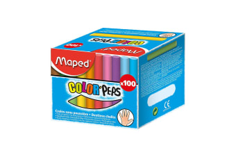 100pc Maped Colour Dustless Chalk Sticks f/ Chalk Board School/Home Assorted