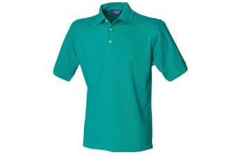 Henbury Mens Classic Plain Polo Shirt With Stand Up Collar (Jade)