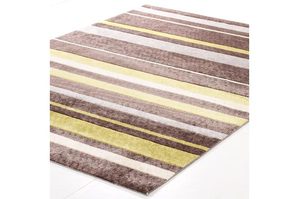 Stylish Stripe Rug Brown Green 280x190cm