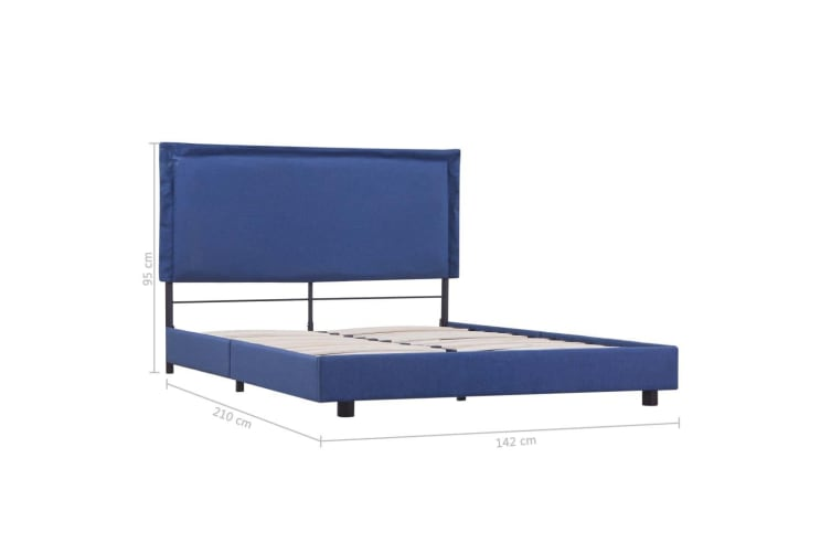 vidaXL Bed Frame Blue Fabric King Single