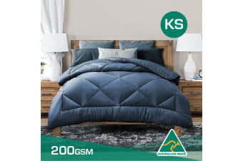 King Single Size Aus Made Summer Weight Soft Bamboo Blend Quilt Blue Cover