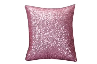 Decorative Glitzy Sequin & Comfy Satin Solid Throw Pillow Covers 18 Inch Square Pillow Case Pink
