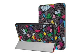 For iPad 2018 2017 9.7in Case Colorful Abstract Polygonal 3-fold Leather Cover