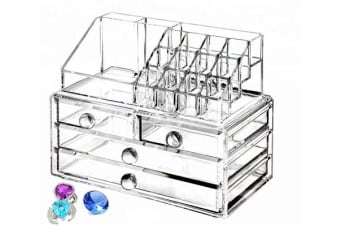 Acrylic Makeup Organizer Container 5Mm Clear 4 Draws Cosmetic Lipstick Holder