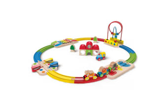 Hape Rainbow Wooden Route Railway & Station Set 18m+