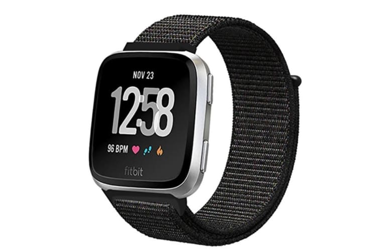 Adjustable Velco Nylon Strap Sport Loop Band Wristbands For Fitbit Versa Fitness Smart Watch Black