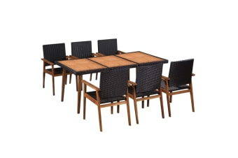 vidaXL 7 Piece Outdoor Dining Set Poly Rattan Black and Brown