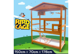 178cm Large Wood Parrot Bird Cage Cockatiels Lovebird Pet House w/ Perch