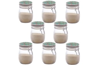 8PK Maxwell & Williams Morris 750ml Floral Food Spice Glass Jar Container Green