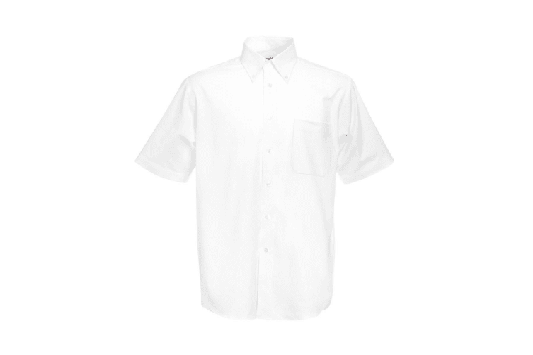 Fruit Of The Loom Mens Short Sleeve Oxford Shirt (White) (XL)