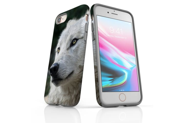 For iPhone 8 Shielding Back Case  White Wolf