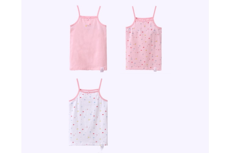 3Pcs Baby Toddler Girls' Set Of 3 Halter Tops Tanks - Pink Pink 140Cm