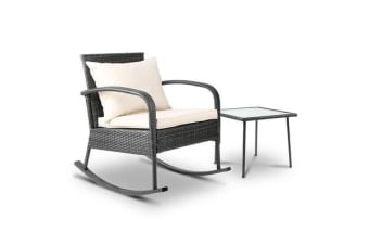Gardeon Outdoor Furniture Rocking Chair Table Wicker Garden Patio Lounge Grey