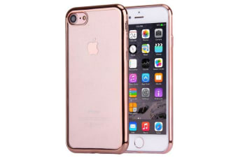 For iPhone 8 7 Case Modish Transparent Electroplating Protective Cover Rose Gold