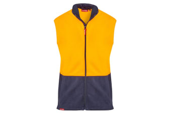 f76aa6d0eb21 Hard Yakka Men s Hi-Vis Two Tone Polar Fleece Vest (Orange Navy)