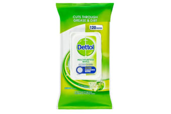 120pc Dettol Multipurpose Cleaning Wipe Kitchen Disposable Wet Wipes Crisp Apple