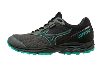 Mizuno Women's WAVE RIDER 22 GTX Running Shoe (Gunmetal/Black/Billard, Size 6.5 US)