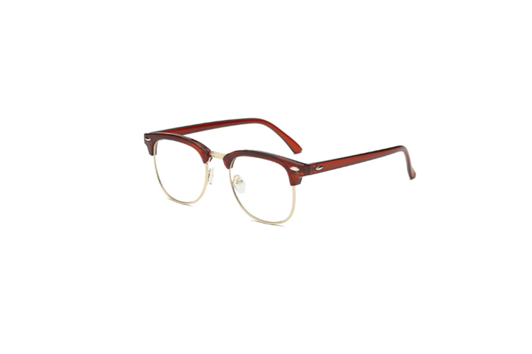 Blue Light Blocking Myopia Glasses Semi-Rimless Lens Eyewear Frame - 3 Brown 450 Degrees
