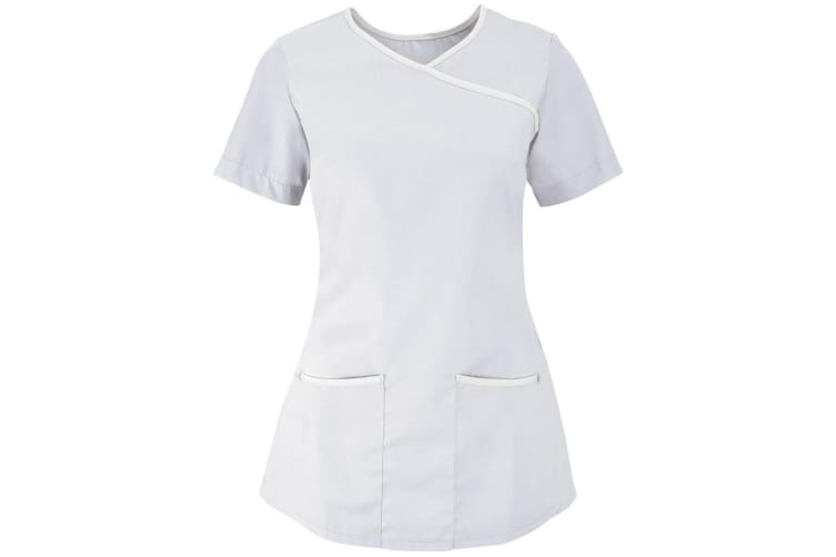 Alexandra Womens/Ladies Medical/Healthcare Stretch Scrub Top (Pack of 2) (White/White) (XL)