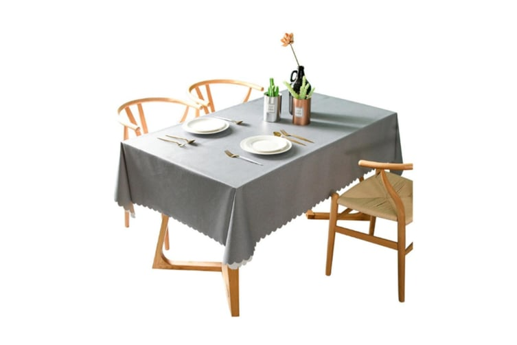 Pvc Waterproof Tablecloth Oil Proof And Wash Free Rectangular Table Cloth Grey 110*110Cm