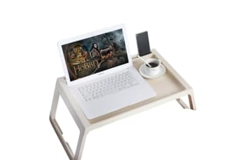 Foldable Desk Laptop Stand Breakfast Bed Tray Computer Portable Serving Table  -  Beige